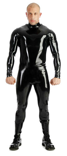 Latexový catsuit se zipy na ramenou - bs26025 (0.90 mm)