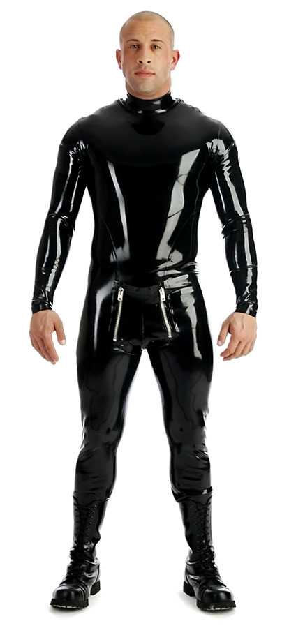 Latexový catsuit se zipy na ramenou - bs26022 (0.60 mm)