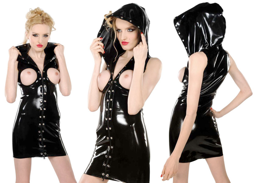 Latexové šaty s kapucí - ab4870