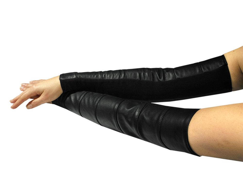 Kožené rukavice dlouhé - le0969 (M, černé)