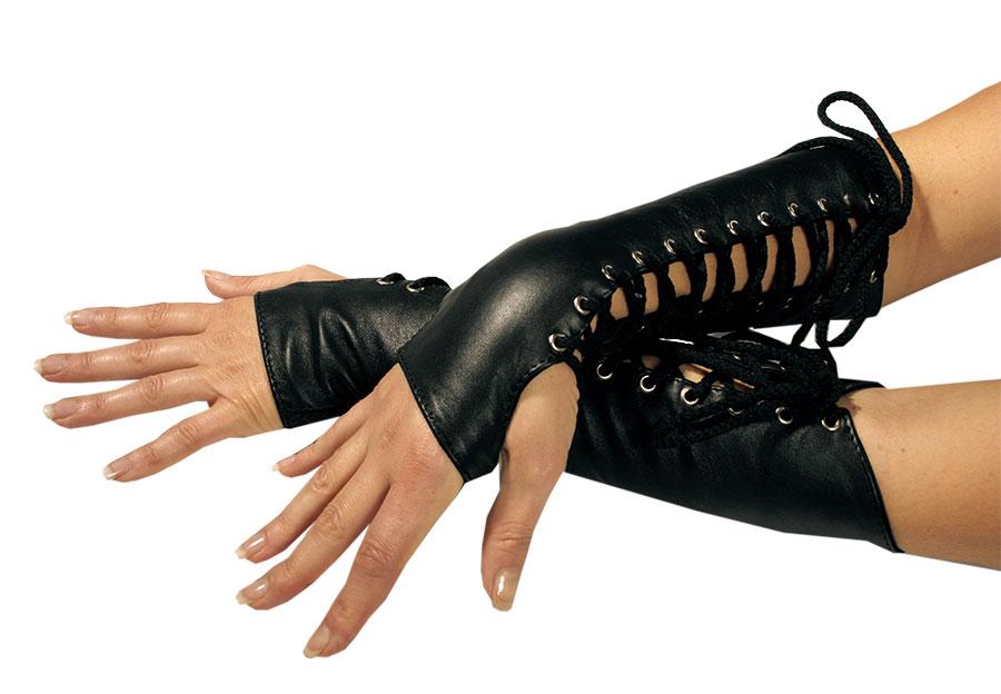Kožené rukavice střední - le0102c (M, černé)