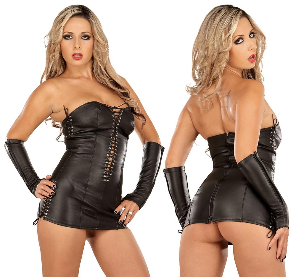 Kožené šaty - le5180 (S, černé)