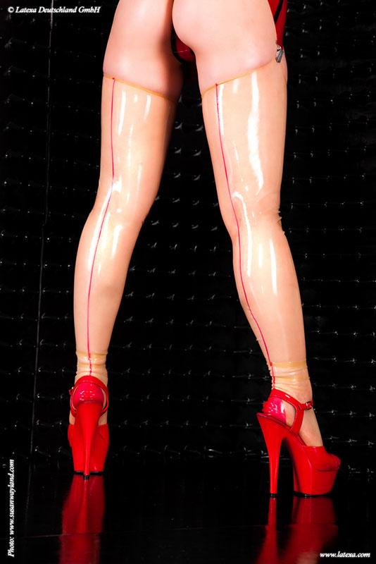 Latexové punčochy s proužkem - la1348